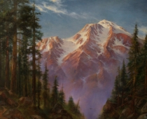 "This image is an original painting titled ""Mount Shasta, Hot Summer Day"" by Stefan Baumann"
