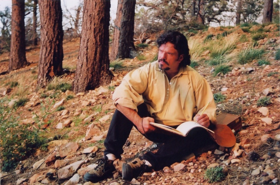 Image of artist Stefan Baumann - Plein Air painter and PBS artist Drawing in a National Park