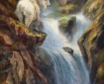 "This is an image of a Mountain Goat in a painting by Stefan Baumann called, ""Hall of the Mountain King"""