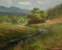 View From Louie Road Bridge. landscape painting of a creek with lush grass and trees in summer by Stefan Baumann