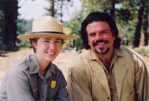 Image of artist Stefann Baumann with Ranger Becky Latanich at The Grand Canyon National Park as he hosts the eleventh of 20 episodes of The Grand View: America's National Parks through the Eyes of an Artist