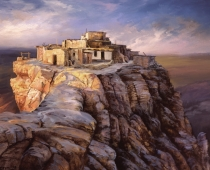 First Mesa, Hopi Reservation, plein air painting of a Hopi village on top of a mesa by Stefan Baumann