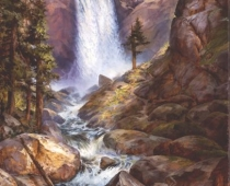 Vernal Falls, Yosemite National Park, plein air landscape painting by Stefan Baumann. This painting of Vernal Falls is an excellent example of painting with a limited palette.