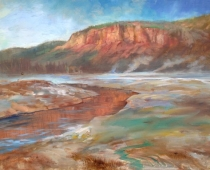 Old Faithful Basin in Yellowstone, plein air sketch by artist Stefan Baumann