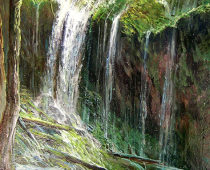 Mossbrae Falls, Opus 1, painting of a mossy waterfall with sunlight by Stefan BaumannThis painting is an excellent example of painting with a limited palette.