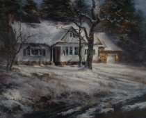 The Sullaway House, painting of a historic home in winter snow by Stefan Baumann