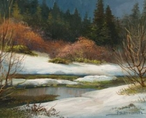 Snowy Spring Meadow, apinting of a river with heavy snow on the banks by Stefan Baumann