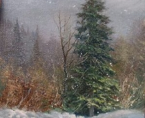 Morning Snow, painting of an evergreen tree with light shining through falling snow by Stefan Baumann