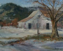 Hammond Ranch Barn, painting of a white barn in Hammond Ranch, California, in winter with snow by Stefan Baumann