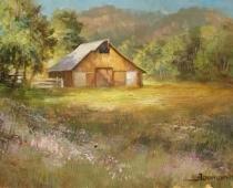 A Barn in Gazelle, California, apinting of a wooden barn in early spring by Stefan Baumann