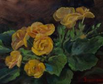 Begonia Blooms, painting of yellow begonias by Stefan Baumann
