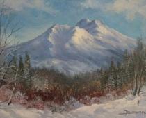 Mount Shasta Sunrise, Opus 1, painting of Mt shasta in morning light by Stefan Baumann