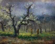 Ashland Orchard, painting of a pear orchard with early blooms by Stefan Baumann. Collection of Kris Baxter, Mt Shasta, California