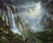 Yosemite Valley, landscape painting with beautiful light effect by Stefan Baumann