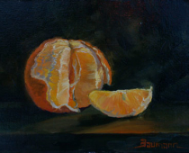 Winter Orange, painting of an orange with slices backlit by morning sun, by artist Stefan Baumann