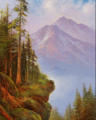 Mount Shasta Afternoon, painting of Mt shasta on a hazy afternoon in summer
