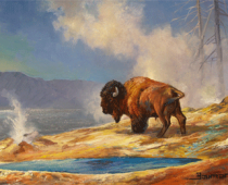 Yellowstone Bison, plein air painting of a buffalo in Yellowstone National Park by artist Stefan Baumann. Exasmple of apinting wildlife on location used in Baumann's post about painting wildlife in Yellowstone National Park.