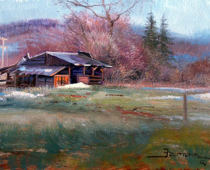 Old Stage Road Barn, painting by Stefan Baumann