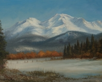 Mount Shasta's Winter Splendor, oil painting of Mt Shasta covered in snow by Stefan Baumann