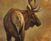 """The End"" Painting of an Elk, wildlife painting by Stefan Baumann"