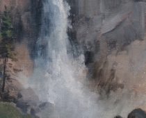 """Nevada Falls Yosemite National Park"" painted on location in Yosemite National Park by Stefan Baumann"