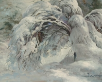 Snow Covered Dogwood, oil on canvas. Painting of a dogwood tree bent over with the weight of the snow covering it by Stefan Baumann