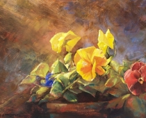 Pansies, oil on canvas. Painting of blooming pansies in a flower pot by Stefan Baumann. Used in Baumann's post about taking time to paint.