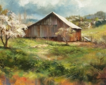 Ashland Barn, painting of a weathered red barn with a blooming tree by Stefan Baumann. Used in his encouraging instructional post, Be Prepared to Paint