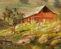 Hornbrook Barn, Opus 1. Painting from life plein air on location By Stefan Baumann