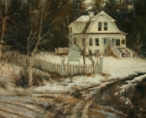 Grand Old Lady, painting of a white house in snow by Stefan Baumann