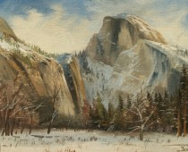 Christmas Day in Yosemite, original oil painting by Stefan Baumann, from his collection of Christmas paintings