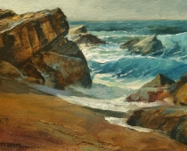 Point Lobus, Monterey Peninsula, Carmel, California, by Stefan Baumann. Painted on location Plein Air Alla Prima at High Tide