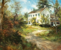 Hanley Farm House, Medford, Oregon. Painting by Stefan Baumann