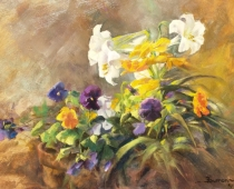 This image is an oil painting titled Lilies and Pansies, by Stefan Baumann