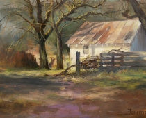Old Stage Cabin, Plein air painting by Stefan Baumann