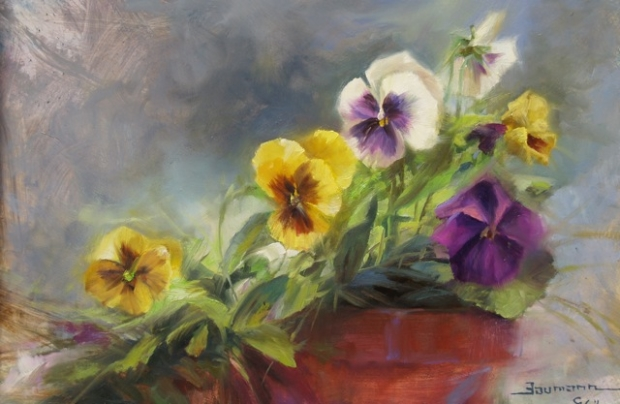 Pansies in the Mist