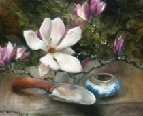 Tulip Tree Branch, painting of a branch with tulip tree flowers by artist Stefan Baumann