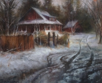 Slushy Streets, Plein air oil painting by Stefan Baumann