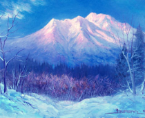 "This is an image of ""Mount Shasta Sunset, Opus 3"" painted by Stefan Baumann"