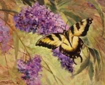 Grand View Butterfly, Opus 1, painting of a monarch butterfly by artist Stefan Baumann