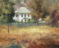 Farmhouse in Mount Shasta, painting by Stefan Baumann