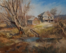 Times Gone By, painting of an old house and outbuilding by artist Stefan Baumann