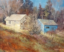 "This is an image of two houses in ""Crossroads in Weed"" painted by Stefan Baumann."