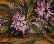 """This is an image of """"Last of the Rhododendron Bloom"""" painted by Stefan Baumann."""