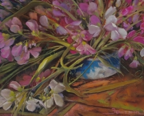 "This is an image of ""Mount Shasta Sweet Peas"" painted by Stefan Baumann, Plein Air."