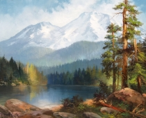 Silence at Siskiyou Lake, oil on canvas. Painting of Mt Shasta with Siskiyou Lake in the foreground by Stefan Baumann
