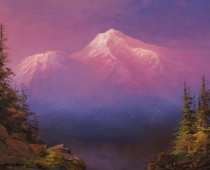 "This is an image of ""Mount Shasta Sunset"" painted by Stefan Baumann, Plein Air."