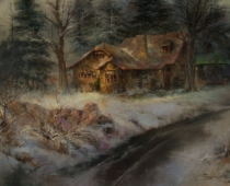 """This is an image of """"Strawberry Valley Inn"""" painted by Stefan Baumann."""