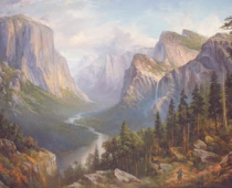 "This is an image of ""Backpackers in Yosemite"" painted by Stefan Baumann"