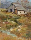 Hoy Barn, painting of an old barn with a small creek in a field by Stefan Baumann